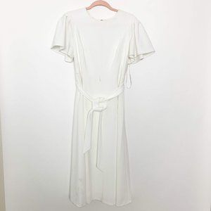 NWT Calvin Klein Belted Back Zip Dress White
